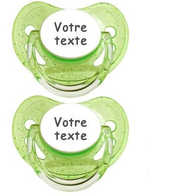 Tétines personnalisées Paillettes (vert)