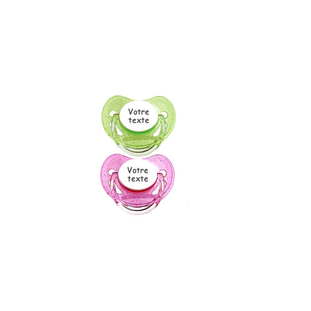 Tétines personnalisées Paillettes (rose,vert)