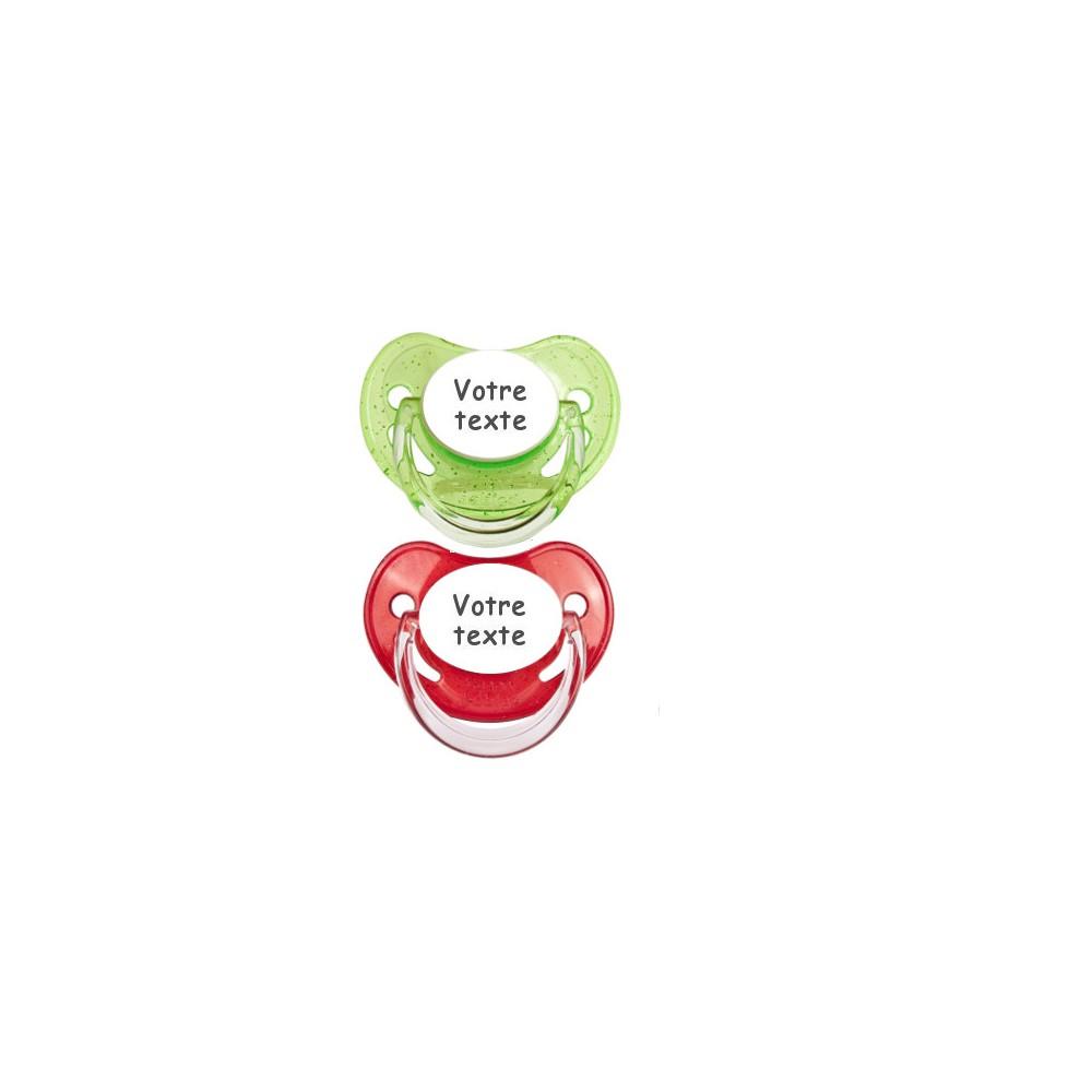 Tétines personnalisées Paillettes (vert, rouge)