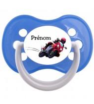 """Tétine personnalisée """"Prénom Moto"""""""