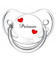 """Tétine personnalisée """"Prénom 2 Coeurs"""""""