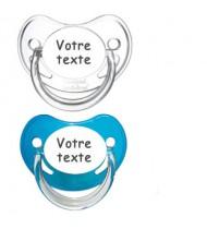 Tétines personnalisées Chupa (bleu, transparent)
