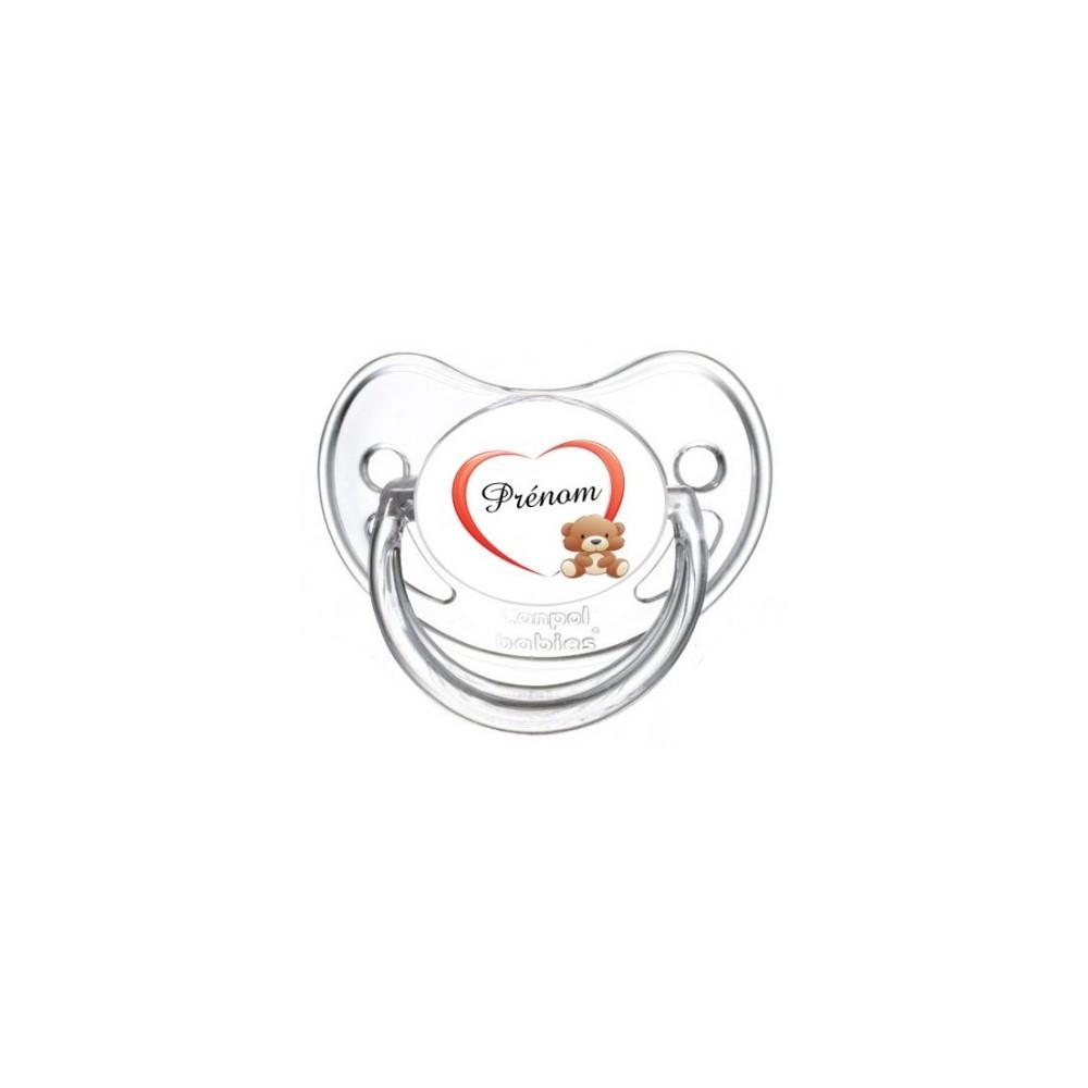 Tétine personnalisée ourson coeur et prénom