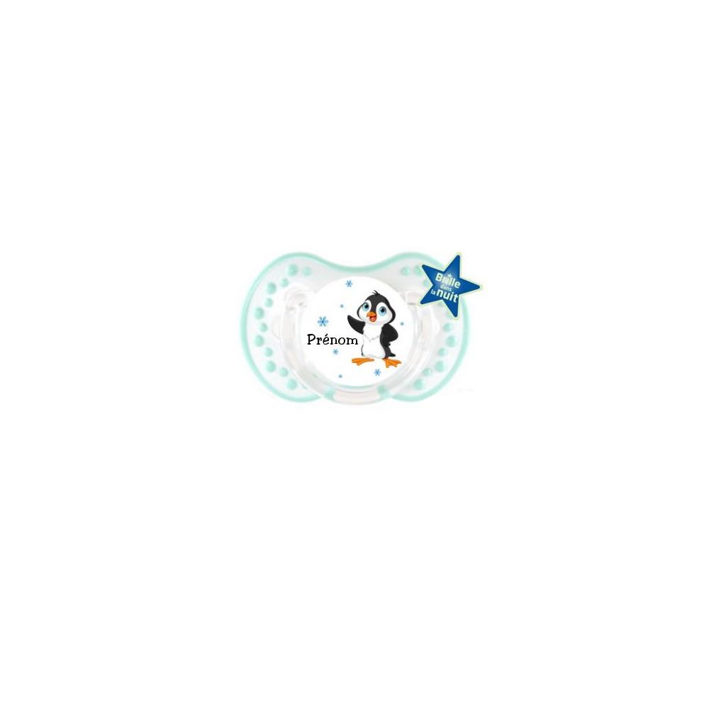 Tétine personnalisée prénom et pingouin