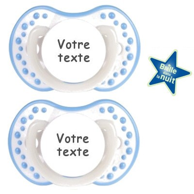 Tétines personnalisées Night and Day (blanc/bleu)