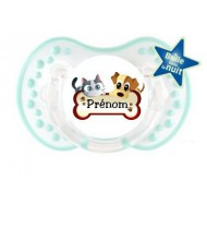 Tétine personnalisée chien chat os et prénom