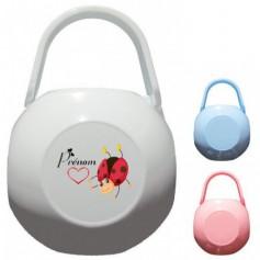 Boîte à tétine personnalisée Coccinelle coeur  Prénom