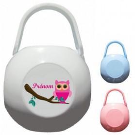 Boîte à tétine personnalisée Hibou rose Prénom