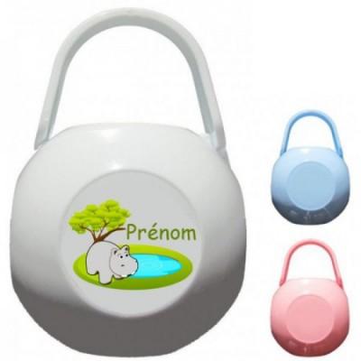 Boîte à tétine personnalisée Hippopotame Prénom