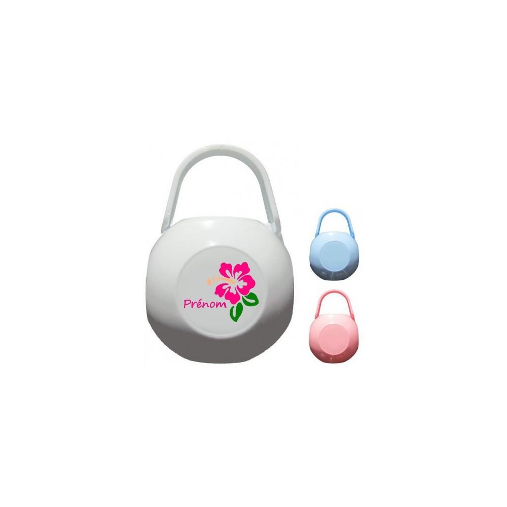 Boîte à tétine personnalisée Fleur et prénom