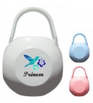 Boîte à tétine personnalisée Oiseau bleu Prénom