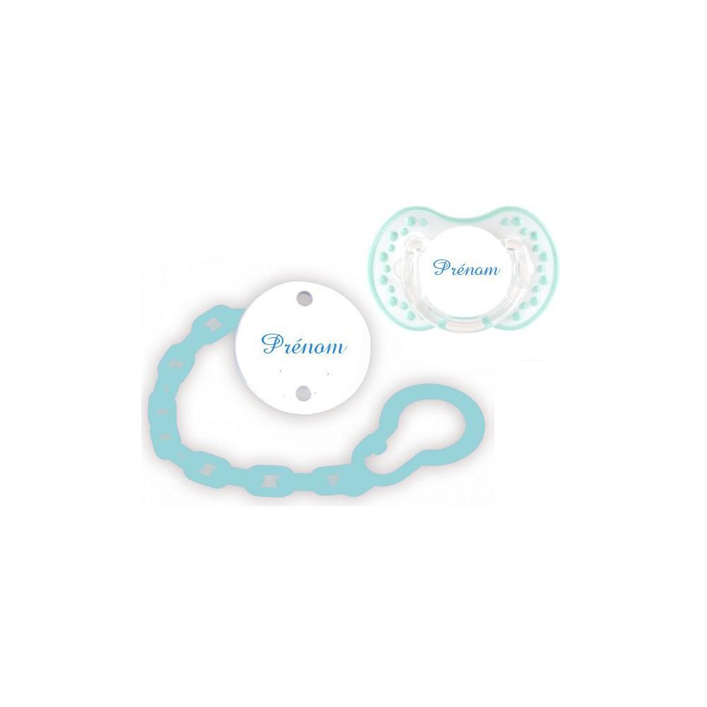 Lot tétine attache (Style blanc turquoise)