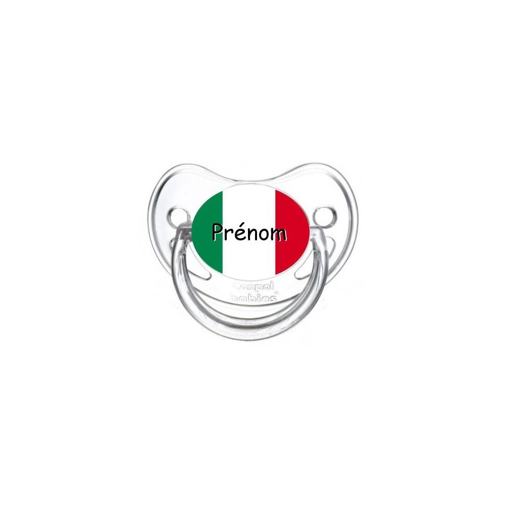 Tétine personnalisée drapeau Italie et prénom