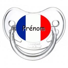 Tétine personnalisée drapeau France et prénom