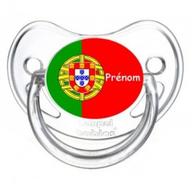 Tétine personnalisée drapeau Portugal et prénom