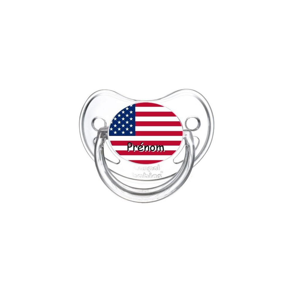 Tétine personnalisée drapeau etats unis et prénom
