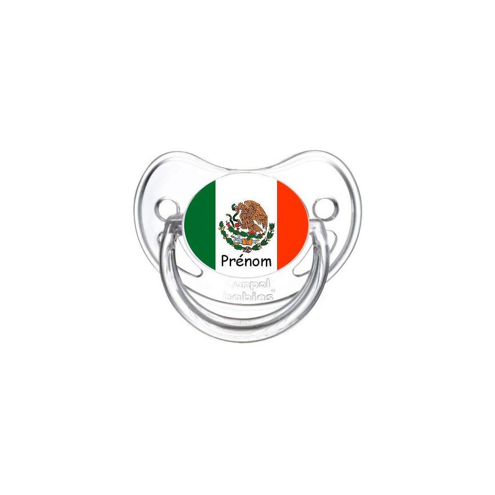 Tétine personnalisée drapeau Mexique et prénom