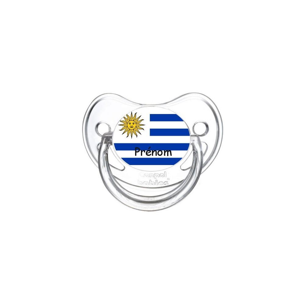 Tétine personnalisée drapeau Uruguay et prénom