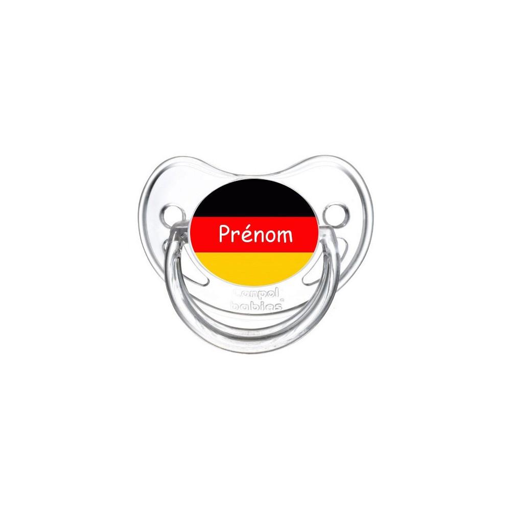 Tétine personnalisée drapeau Allemagne et prénom