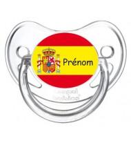 Tétine personnalisée drapeau Espagne et prénom