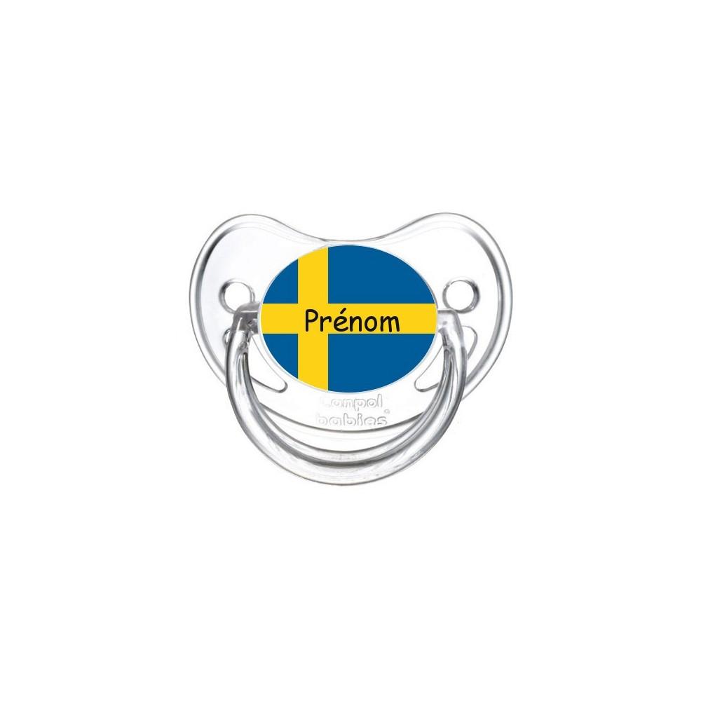 Tétine personnalisée drapeau Suède et prénom