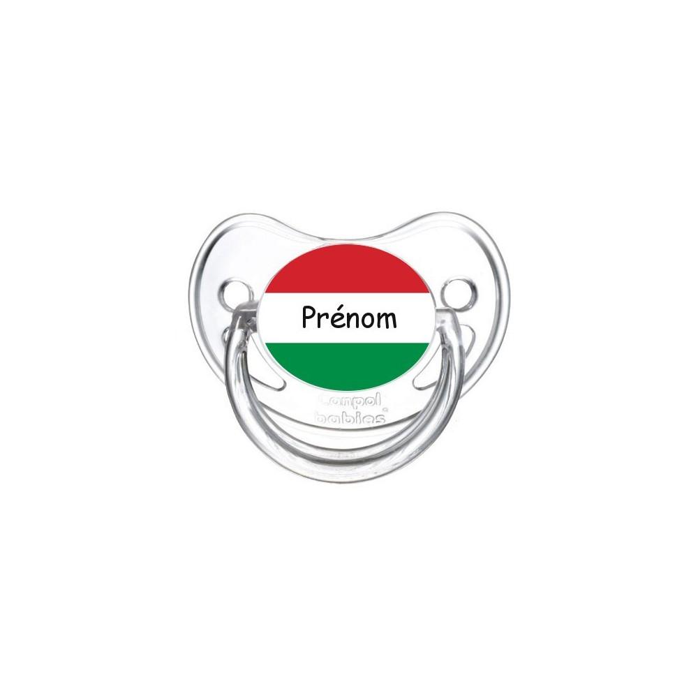 Tétine personnalisée drapeau Hongrie et prénom