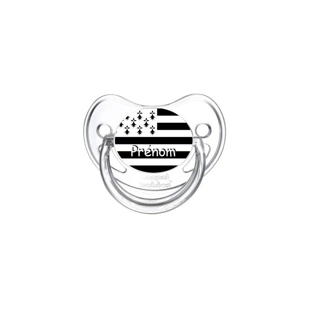 Tétine personnalisée drapeau bretagne et prénom