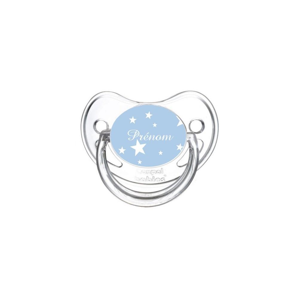 Tétine personnalisée etoile sur fond bleu et prénom