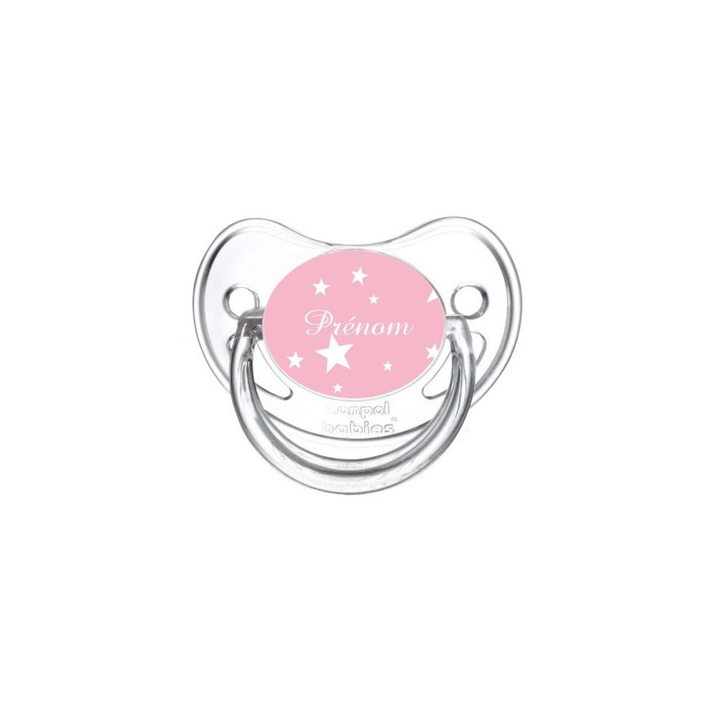 Tétine personnalisée etoile sur fond rose et prenom