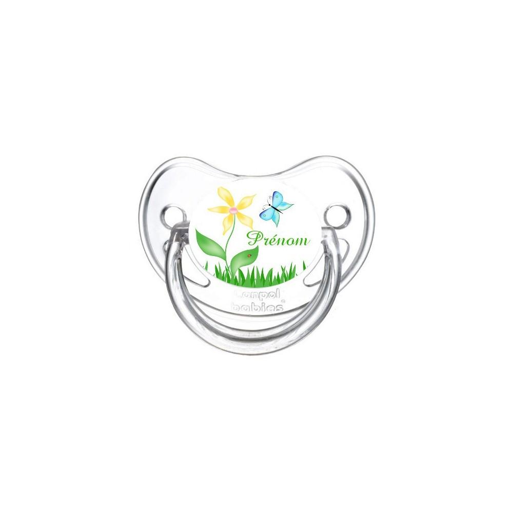 Tétine personnalisée fleur et papillon