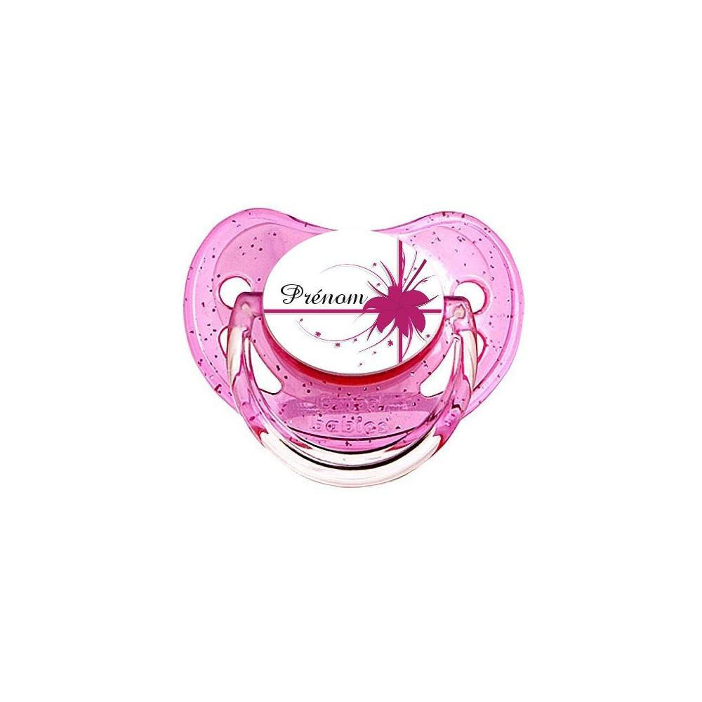 Tétine personnalisée fleur et prenom rose