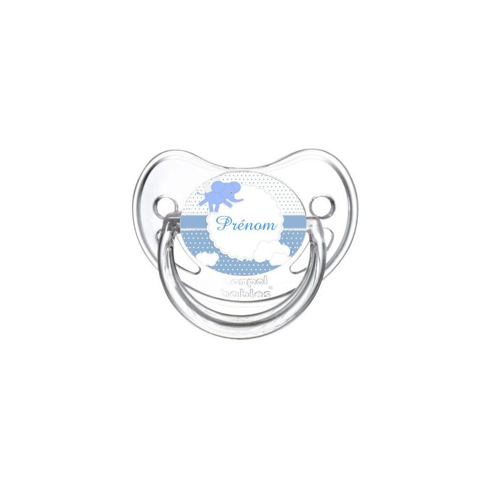 Tétine personnalisée elephant bleu et prénom
