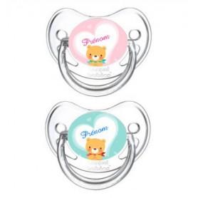 Lot de 2 Tétines bébé personnalisée ours coeur et prénom
