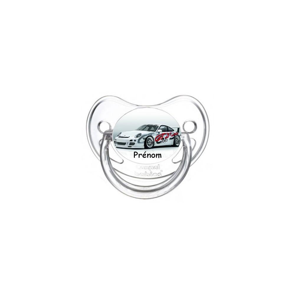 Tétine personnalisée voiture de course et prénom