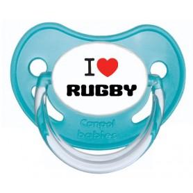 """Tétine personnalisée """"J'aime le rugby"""""""
