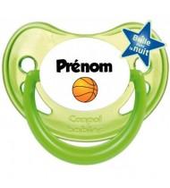 """Tétine personnalisée """"Prénom Ballon Basket"""""""