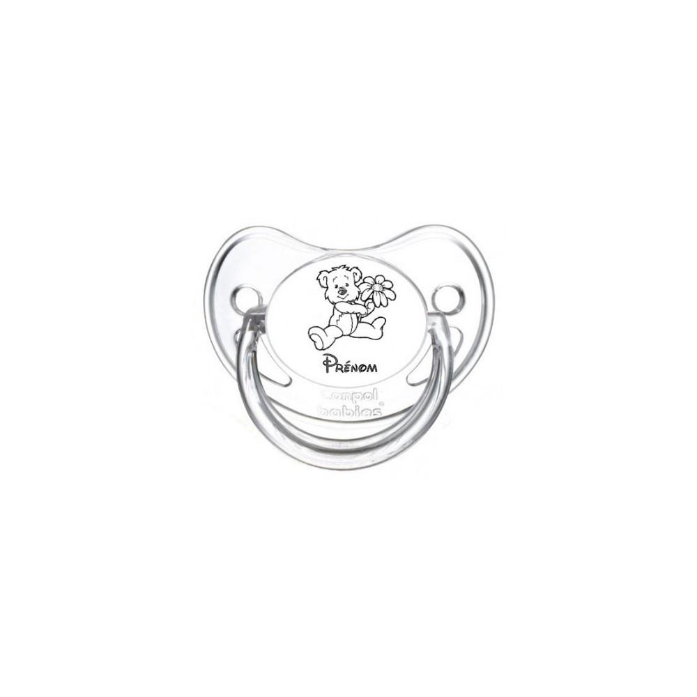 Tétine personnalisée ours fleur prénom