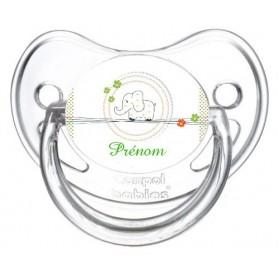 Tétine personnalisée éléphant tendre vert