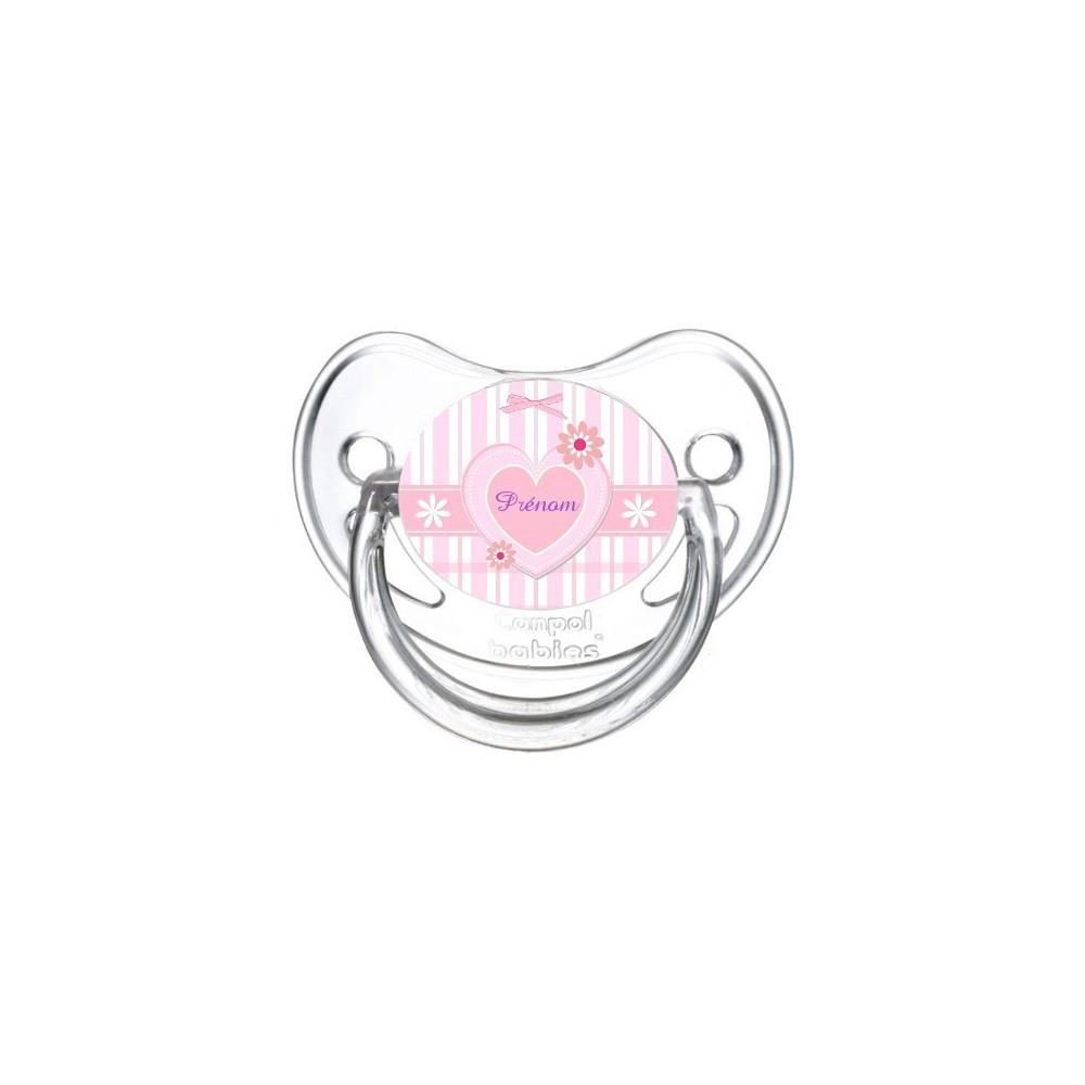 Tétine personnalisée rose et coeur prénom