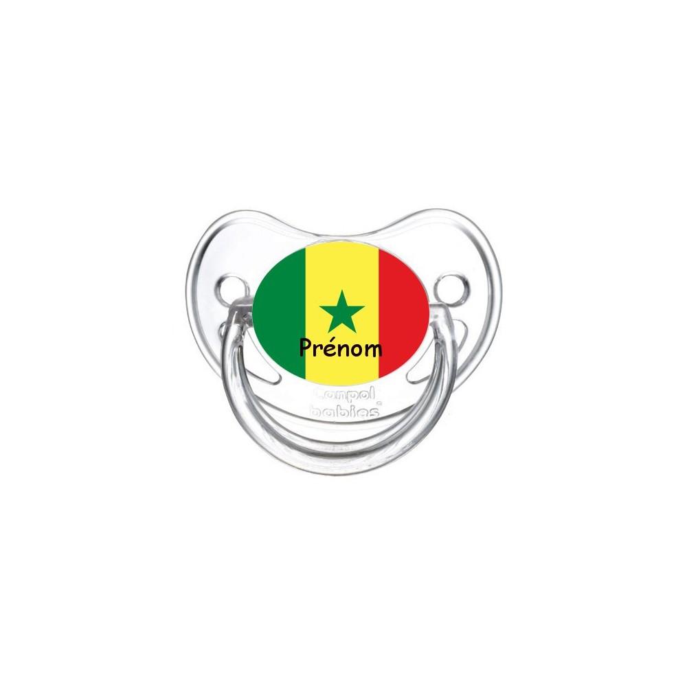 Tétine personnalisée drapeau Senegal et prénom