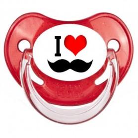 """Tétine bébé """"I love moustache"""""""