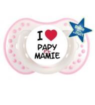 """Tétine bébé """"I love papy et mamie"""""""