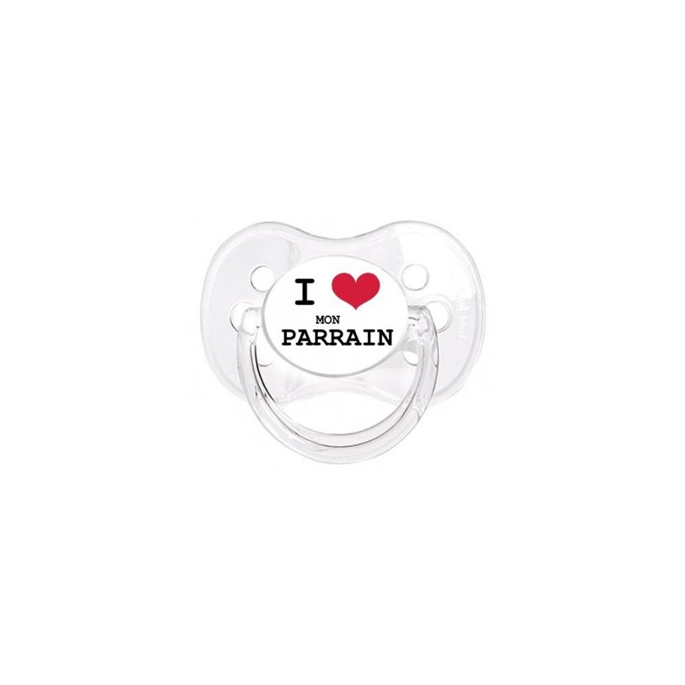"""Tétine bébé """"I love mon parrain"""""""
