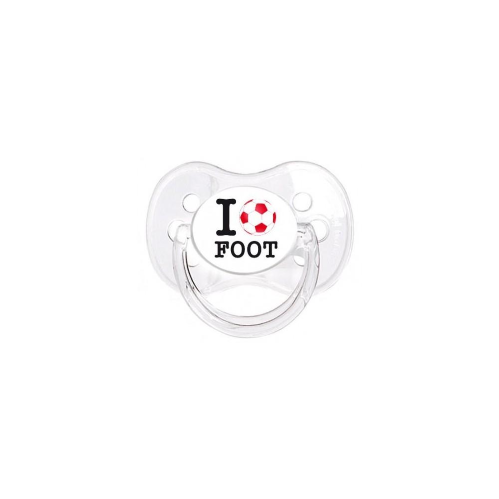 """Tétine personnalisée """"I love foot"""""""