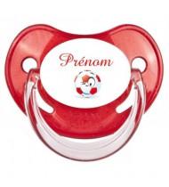 Tétine personnalisée foot ballon rouge et Prénom