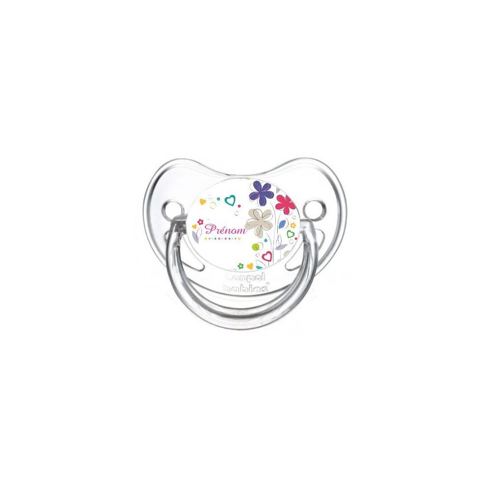 Tétine personnalisée fleur et prénom