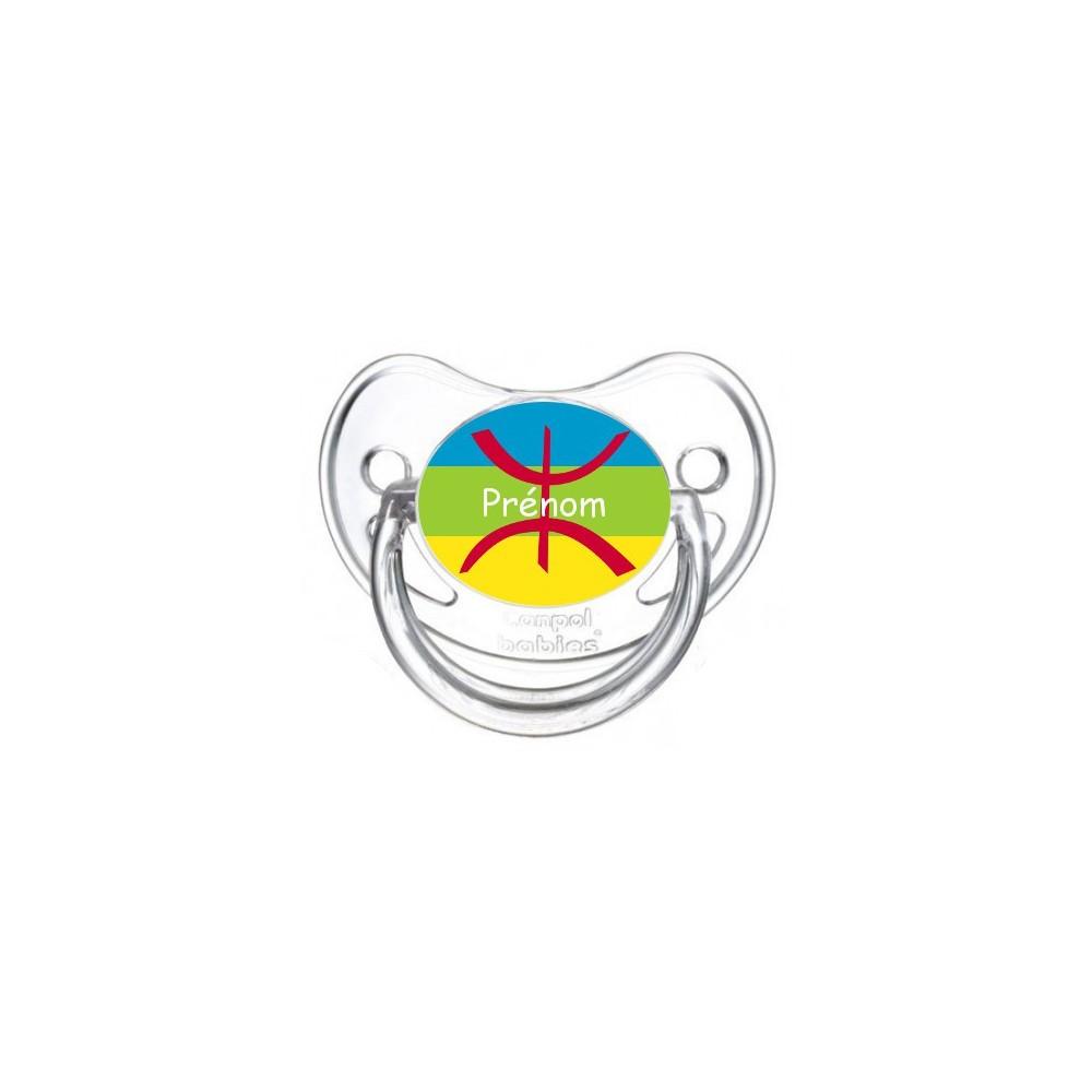 Tétine personnalisée drapeau kabyle et prénom