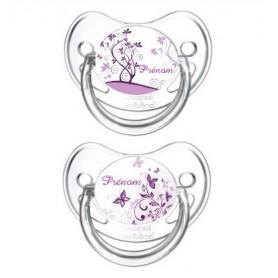 Lot de 2 Tétines bébé personnalisée papillon violet