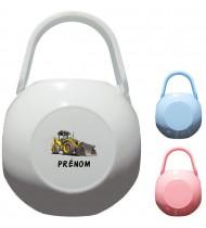 Boîte à tétine personnalisée Pelleteuse Prénom