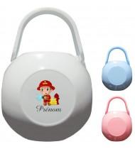 Boîte à tétine personnalisée Pompier Prénom